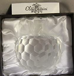 Oleg Cassini Crystal Paperweight 220351 -- Apple