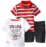 U.S. Polo Assn. Baby-Boys Newborn 3 Piece Graphic T-Shirt Jersey Polo and Denim Short, Red, 6-9 Months