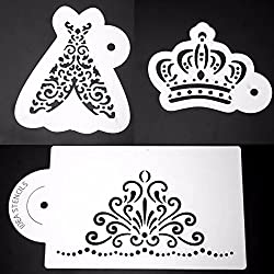 LussoLiv 3Pcs Royal Plastic Cake Stencil Cookie Biscuit Fondant Coffee Stencil Wedding Cake Decorating Tool