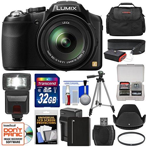 Panasonic Lumix DMC-FZ200 Digital Camera with 32GB Card + Battery & Charger + Case + Tripod + Filter + Hood + Flash + Strap Kit
