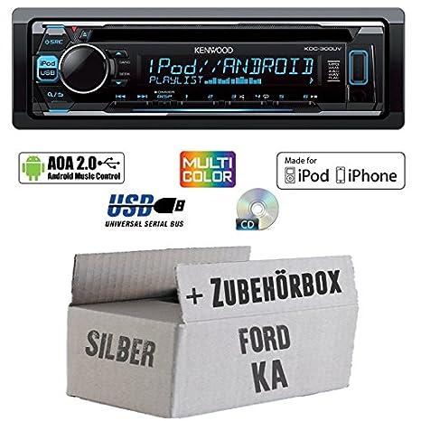 Ford KA - Kenwood KDC-300UV - CD/MP3/USB VarioColor Autoradio - Einbauset