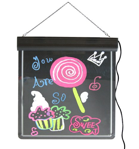 Led Lighted Writing Menu Board & Sign With 6 Neon Marker Pens