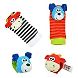 Baby Learning Fun - Animal Wrist and Sock Rattle Soft Developmental Toy Gift Set 4 Pcs - Puppy Dog & Cow