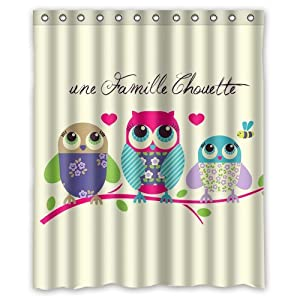 Calorful lovely cartoon owl family waterproof for 60s bathroom decor