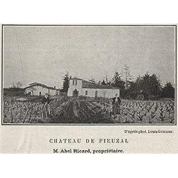 GRAVES. LÉOGNAN. Chateau de Fieuzal. Ricard. Bordeaux. SMALL, old print 1908