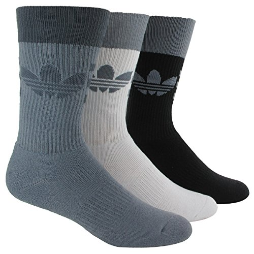 Adidas Men's Originals Crew Sock (3 Pack), Grey/Onix/White/Black, One Size