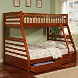 Twin Full Size Bunk Bed with Storage Drawers in Cherry Finish