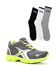 Elligator Gray & Green Stylish Sport Shoes With Puma Socks For Men's