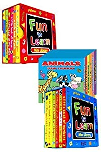 Mini Library Board Books - Bumper End of Season Sale - Special Bumper Gift Pack for Toddlers, Children, Babies - 2 x Fun to Learn Board Book Sets - Red & Blue - Animals Board Book Mini Library - 18 Board Books Collection Set - RRP £15.96 - Yours for Just