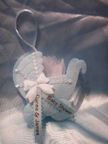 25 Complete Personalized Shower Blue Carriage Favor Bag front-631934