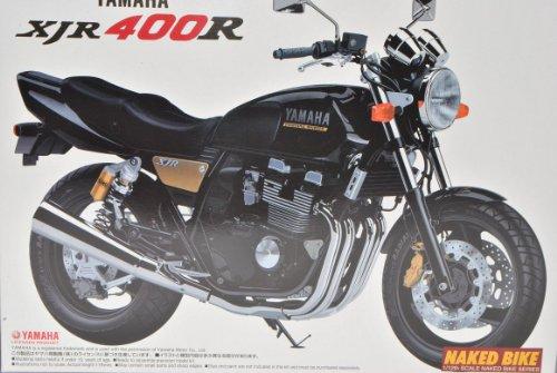 Yamaha XJR400R Schwarz 043226 Kit Bausatz 1/12 Aoshima Modell Motorrad mit individiuellem Wunschkennzeichen