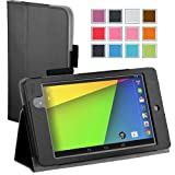 Maxboost Google Nexus 7 2 Case FHD (2nd Generation) Black - Book Folio Style with Multi-Angle Stand Case, Wallet Card Holder, Elastic Holding Strap, Memory Card Holder - Compatible to Google Nexus 7 2 FHD (2nd Generation 2013 Release)