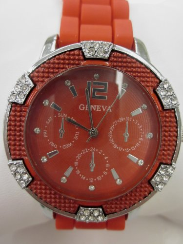 Women'S Geneva Watch Bright Red W/ Silver Faux Chronograph Silicone Rubber Jelly Link Look Band