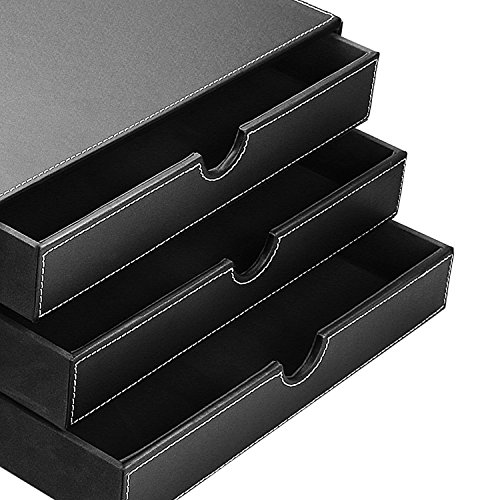 Hometek multi functional 3 drawer leather desk organizer - Black leather desk organizer ...