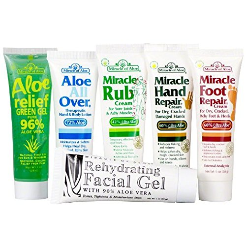 Miracle of Aloe 6-Pack Assortment - Miracle Foot Repair, Miracle Hand Repair, Miracle Rub, Aloe All Over, Aloe Relief, Rehydrating Facial Gel (Miracle Hand Cream compare prices)