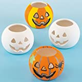 Halloween Ceramic Pumpkin Tealight Holders for Children to Decorate and Personalise - Pack of 4