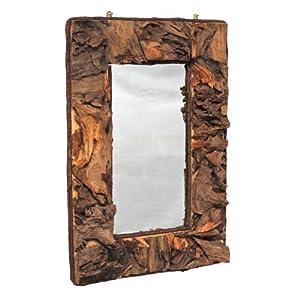 Specchio da parete rettangolare cornice in legno naturale marrone 74 x 49 cm nuovo - Specchi da parete amazon ...