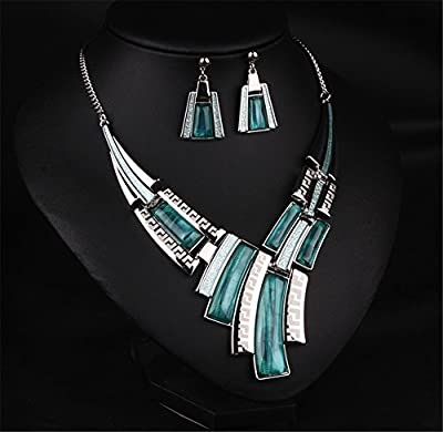 Girl Era Fine Jewelry Vintage Wild Collar Fashion Resin Necklace & Earring Set