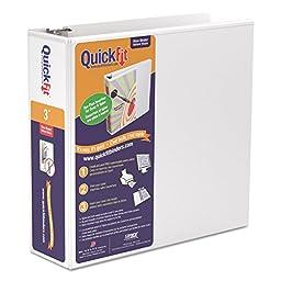 QuickFit 3 Inch Original View Binder, D-Ring, White (87050)