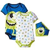 Disney Baby Boys' Monster Inc. Mike Bodysuit and Bib (Pack of 3)