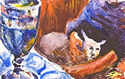 1 0 x 7, Cat with wine, watercolor original by Andrejs Bovtovics. FREE shipment.