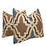 Pair of Decorative Designer Pillow Covers-Emphatic Trellis By Highland Court-18 inch
