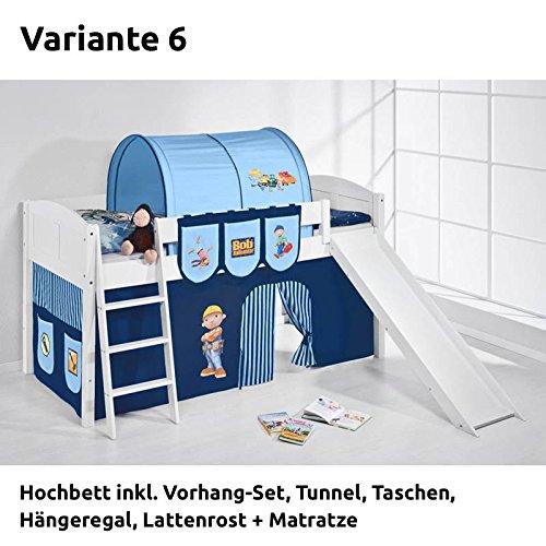 Hochbett Spielbett IDA Bob der Baumeister, mit Rutsche und Vorhang, weiß, Variante 6 günstig online kaufen