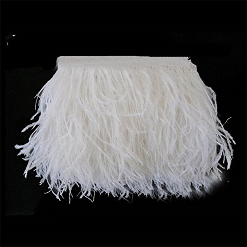 Lanshi Ostrich Feathers Trims Fringe with Satin Ribbon Tape for Dress Sewing Crafts Costumes Decoration Pack of 2 Yards (White)