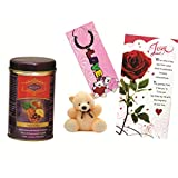 Skylofts Fruit N Nut Chocolate Gift Box With A Cute Teddy, A Love Card & A Love Key Ring