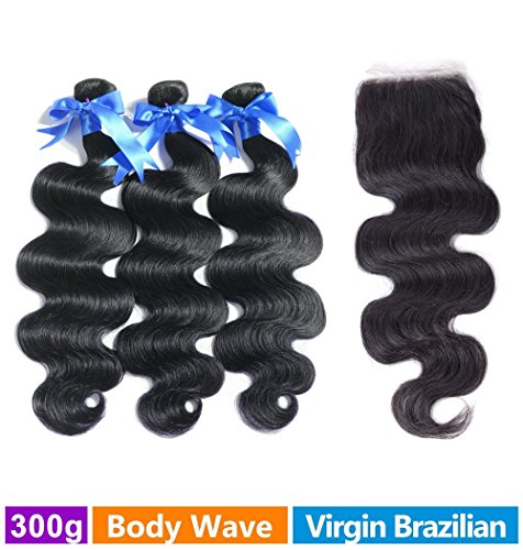 Rechoo Brazilian Virgin Remy Body Wave Hair 3 Bundles 300g with 4x4 Lace Closure Human Hair Extensions Bundles with Free Part Closure(18 18 18+16) (Rain Hair Weave Bundles compare prices)