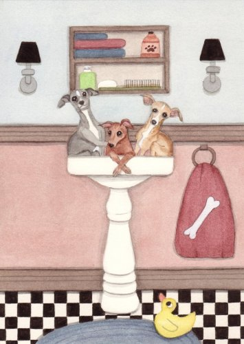 Italian greyhounds fill sink at bath time / Lynch folk art print