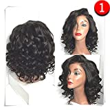 COLODO Synthetic Lace Front Wigs Wet And Wavy For Women Short Hairstyles