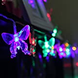 TLT Solar Powered 20 LED Butterfly Style Fairy String Lights (Multicolor) - Great for Christmas - Patio - Lawn - Pathway - Garden LED011