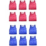 Nylon Mesh Scrimmage Team Practice Vests Pinnies Jerseys for Children Youth Sports Basketball, Soccer, Football, Volleyball (12 Jerseys) by Super Z Outlet®