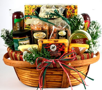 Home For The Holidays: Christmas Gift Basket with Cheese & Sausage - FREE SHIPPING