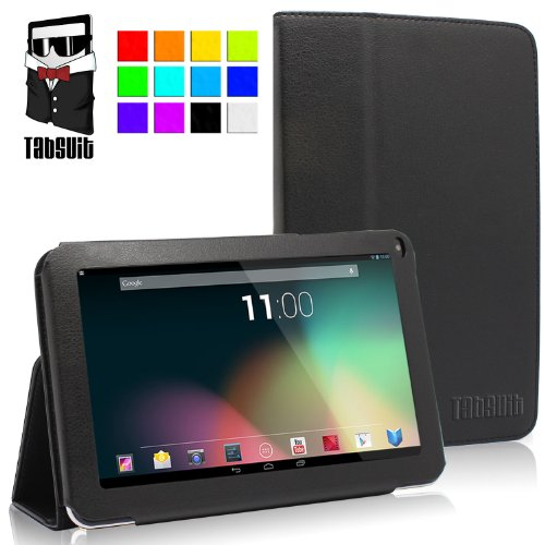 "TabSuit(TM) 9"" PU Leather case for 9"" Dragon Touch A13, Alldaymall, ZTO, D2 Tablet [By TabletExpress] (Black)"