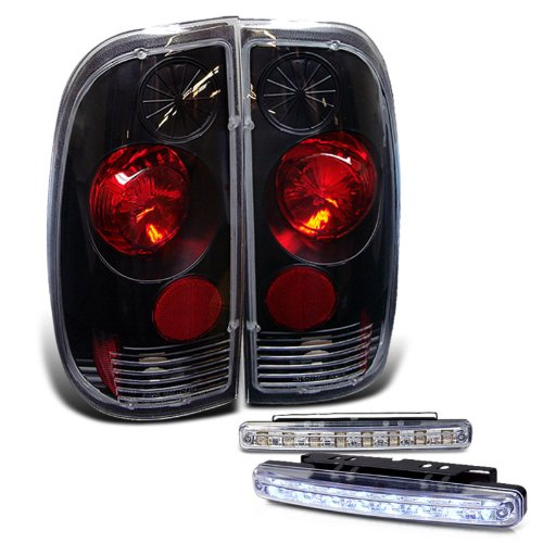 Rxmotoring 1997-2003 Ford F150 Tail Lights Styleside + 8 Led Bumper Fog Lamps