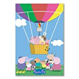 Poster art print: PEPPA PIG CARTOON CHARACTERS HAT AIR BALLOON BASKET (A1 maxi - 61x91.5cm / 24x36in, semi-gloss satin paper)