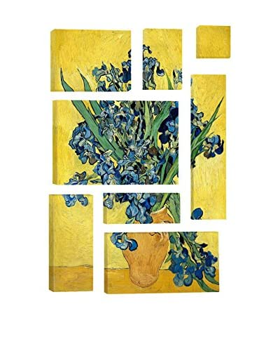 Vincent Van Gogh Vase With Irises Against A Yellow Background 8-Piece Canvas Print Set