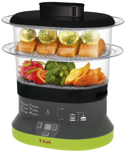 T-fal VC1338 Balanced Living Compact 2-Tier Electric Food Steamer, 4-Quart, Black (Compact Vegetable Steamer compare prices)