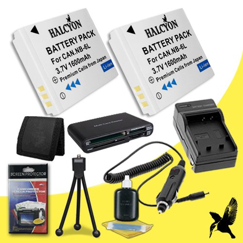 Two Halcyon 1600 mAH Lithium Ion Replacement NB-6L Battery and Charger Kit + Memory Card Wallet + SDHC Card USB Reader + Deluxe Starter Kit for Canon PowerShot D10, D20, Elph 500 HS, S90, S95, S120, S