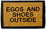 Happily Unmarried Egos and Shoes Outside Coir Doormat - Black
