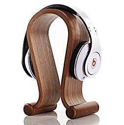 eimolife® Creative Handcrafted Natural Wood Bamboo Hard Panel Stand Holder for Earphone Headset Headphones Artwork and more (Headset stand)