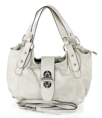 Preise vergleichen Kleine Damenhandtasche aus weichen Leder, Farben:Hellgrau