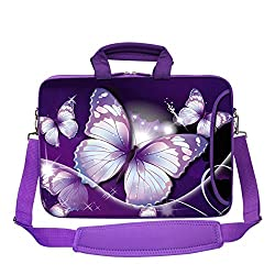 Meffort Inc 15 15.6 inch Purple Color Matching Neoprene Laptop Bag Sleeve with Extra Side Pocket, Soft Carrying Handle & Removable Shoulder Strap - Big Butterfly