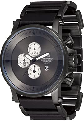 Vestal Men's PLE033 Plexi Gunmetal and Black Leather Watch [Watch] Vestal