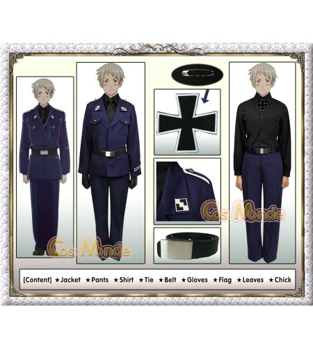 Hetalia - Prussia Prussian Military Cosplay Costume [Deluxe Set]