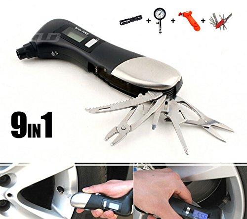 Singeek Multifunctional Lcd Digital Display Car Tire Pressure Table Life-Saving Hammer Emergency Flashlight Swiss Army Knife