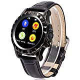 Lemfo Smart Watch Bluetooth Wristwatch IPS Heart Rate Monitor Pedometer Phone Mate for Android Ios (Black Leather)