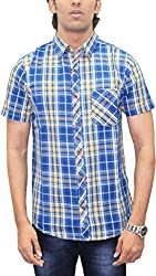 AA' Southbay Men's Royal Blue & Mustard Twill Checks 100% Premium Cotton Half Sleeve Casual Shirt